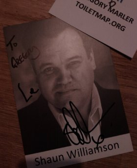 Shaun Williamson signed photo to Gregory.