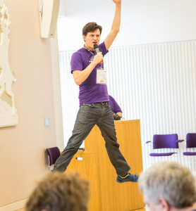 James Cattell jumping high at Open Data Camp